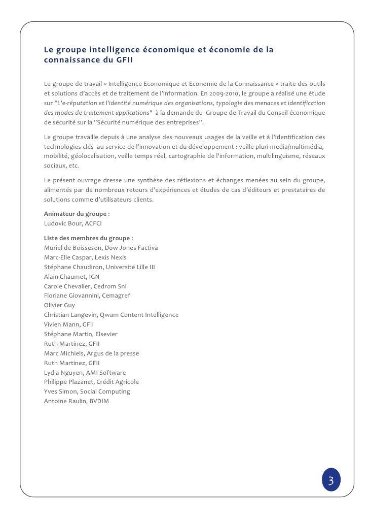 Le groupe intelligence économique et économie de laconnaissance du GFIILe groupe de travail « Intelligence Economique et E...