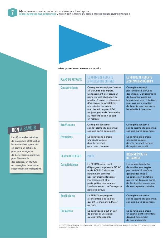 (r)assurez-vous sur la protection sociale dans l'entreprise  7 VOS OBLIGATIONS EN TANT QU'EMPLOYEUR QUELLES PRESTATIONS SO...