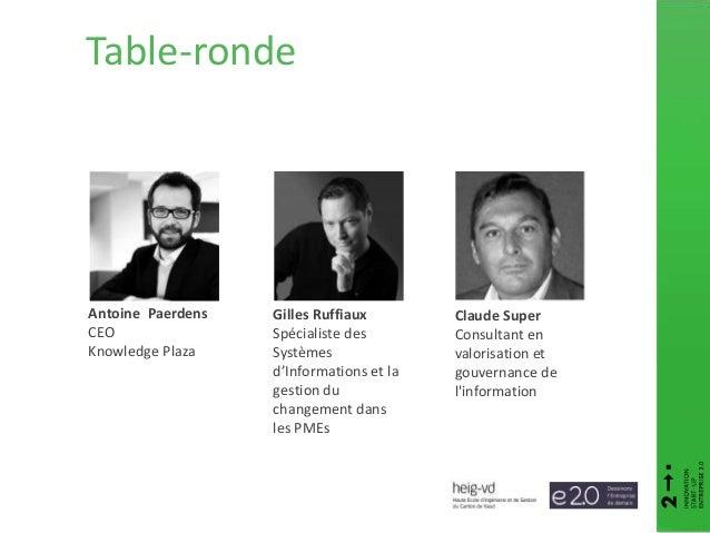 Claude Super Consultant en valorisation et gouvernance de l'information Antoine Paerdens CEO Knowledge Plaza Gilles Ruffia...