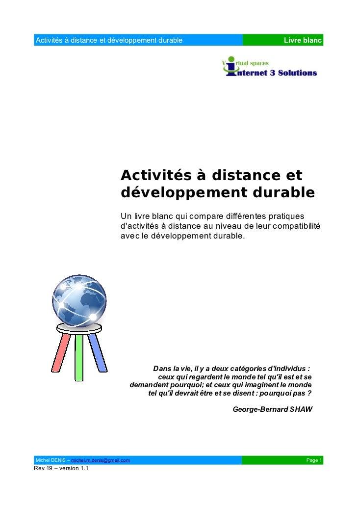 Activités à distance et développement durable                                        Livre blanc                          ...