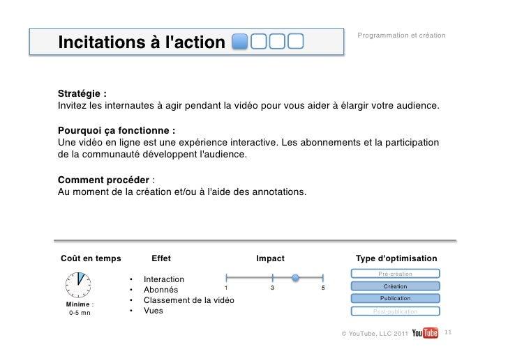 Programmation et créationIncitations à lactionStratégie: Invitez les internautes à agir pendant la vidéo pour vous aider ...