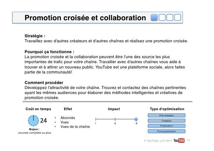 Promotion croisée et collaboration    Stratégie:    Travaillez avec dautres créateurs et dautres chaînes et réalisez une ...