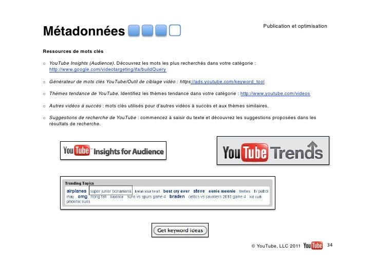 Publication et optimisationMétadonnéesRessources de mots cléso YouTube Insights (Audience). Découvrez les mots les plus r...