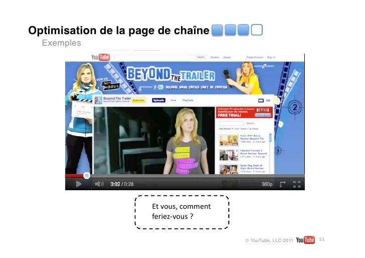 Optimisation de la page de chaîne  Exemples                           Vidéoici                      Etvous,comment   ...