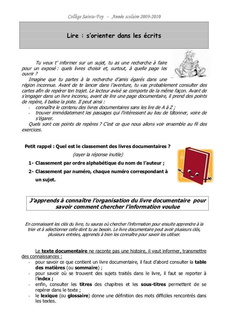 Sainte-                     2009-                        Collège Sainte-Foy - Année scolaire 2009-2010                    ...
