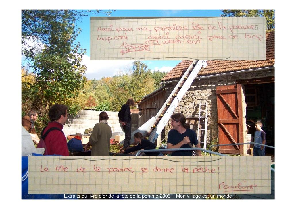 Extraits du livre d'or de la fête de la pomme 2009 – Mon village est un monde
