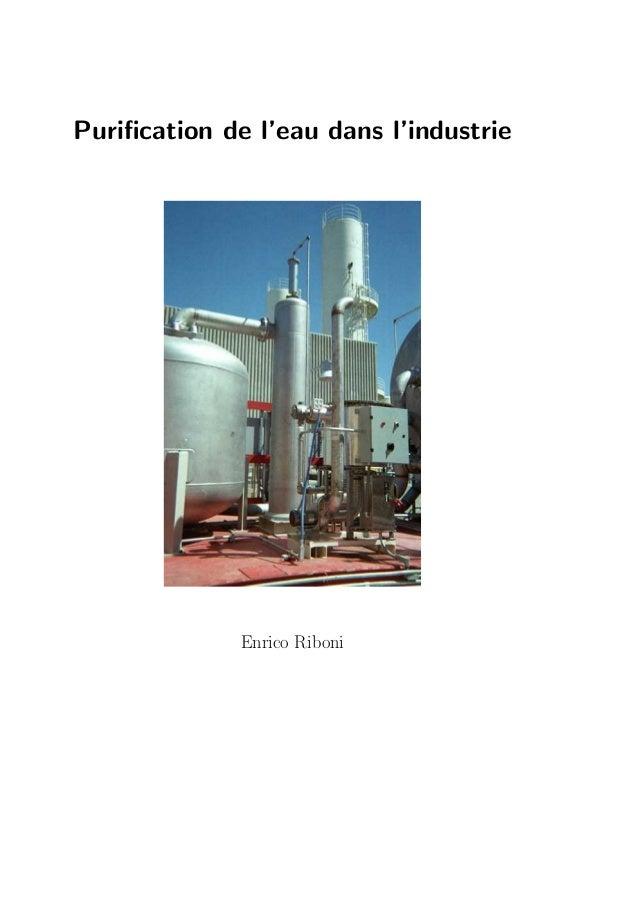 Purification de l'eau dans l'industrie              Enrico Riboni