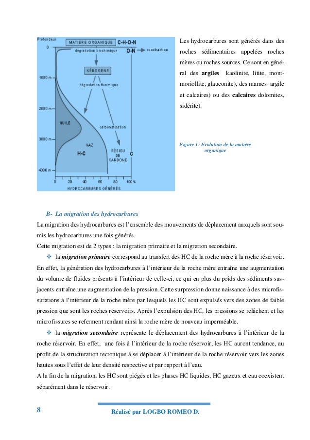 8 Réalisé par LOGBO ROMEO D. Les hydrocarbures sont générés dans des roches sédimentaires appelées roches mères ou roches ...