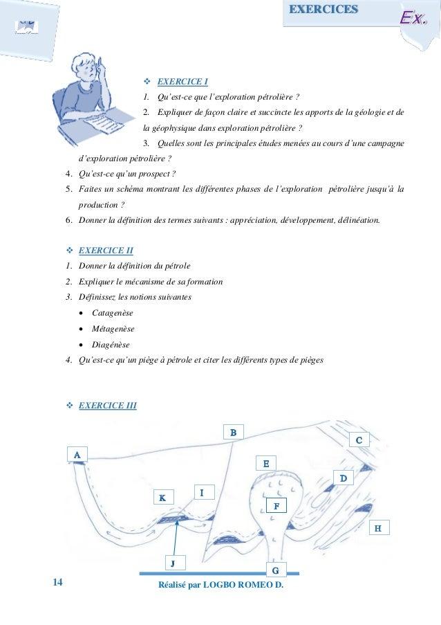 14 Réalisé par LOGBO ROMEO D.  EXERCICE I 1. Qu'est-ce que l'exploration pétrolière ? 2. Expliquer de façon claire et suc...