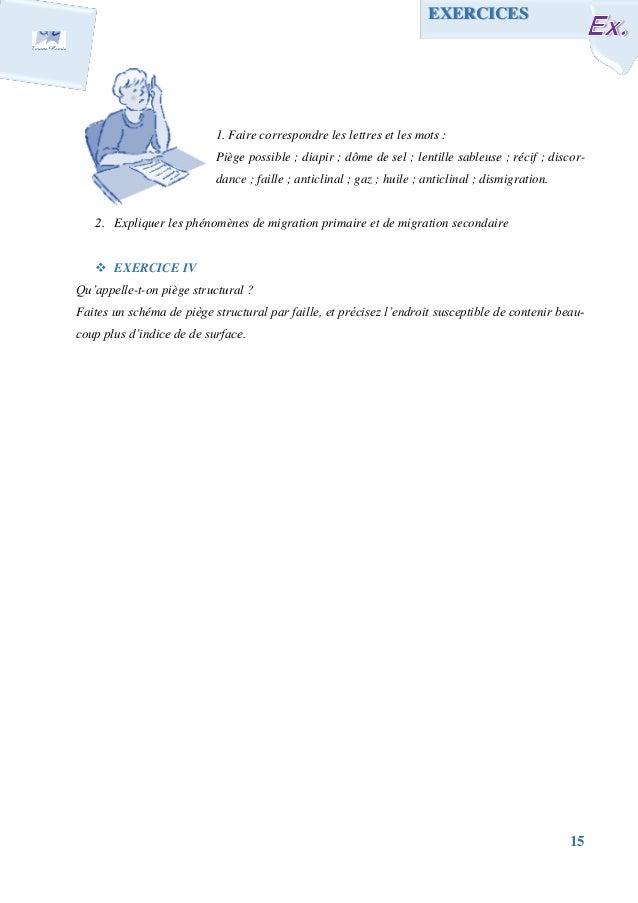 15 1. Faire correspondre les lettres et les mots : Piège possible ; diapir ; dôme de sel ; lentille sableuse ; récif ; dis...