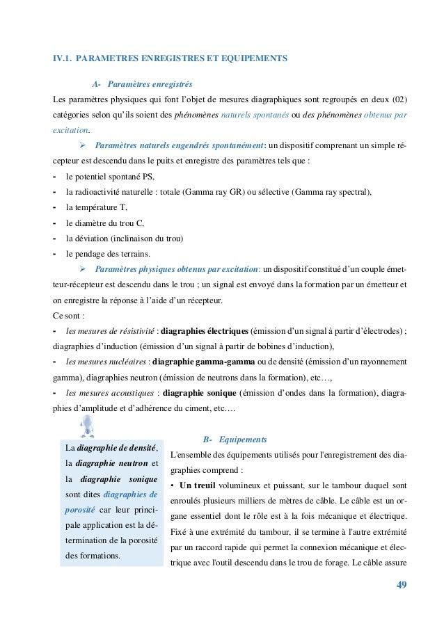 49 IV.1. PARAMETRES ENREGISTRES ET EQUIPEMENTS A- Paramètres enregistrés Les paramètres physiques qui font l'objet de mesu...
