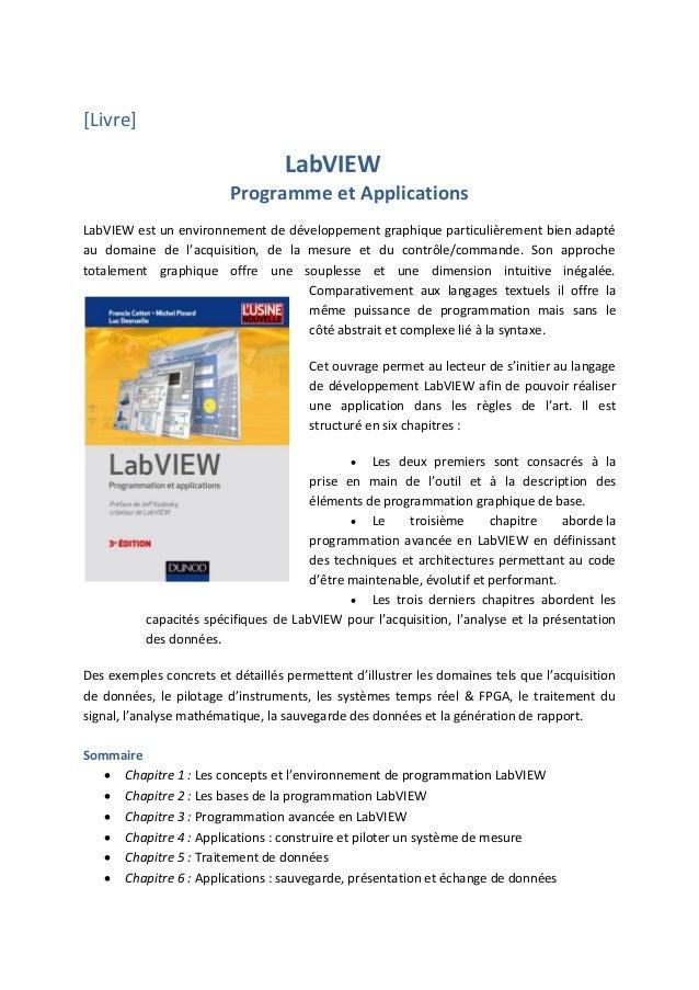 [Livre] LabVIEW Programme et Applications LabVIEW est un environnement de développement graphique particulièrement bien ad...
