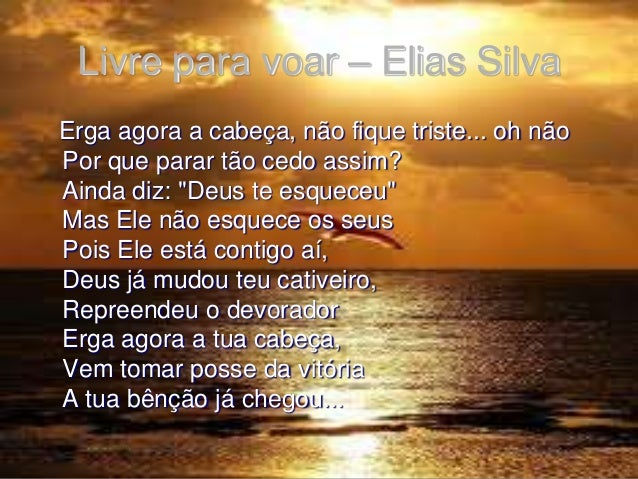 """Livre para voar – Elias Silva Erga agora a cabeça, não fique triste... oh não Por que parar tão cedo assim? Ainda diz: """"De..."""