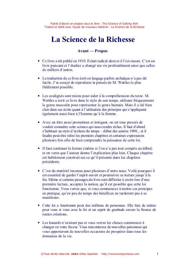 Publié d'abord en anglais sous le titre : The Science of Getting Rich Traduit et édité avec l'ajout de nouveau matériel : ...