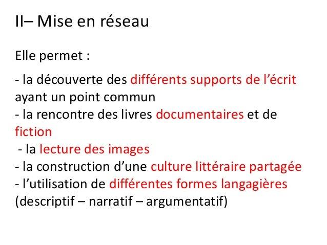 II– Mise en réseau Elle permet : - la découverte des différents supports de l'écrit ayant un point commun - la rencontre d...