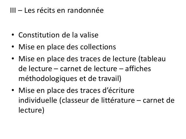 III – Les récits en randonnée • Constitution de la valise • Mise en place des collections • Mise en place des traces de le...