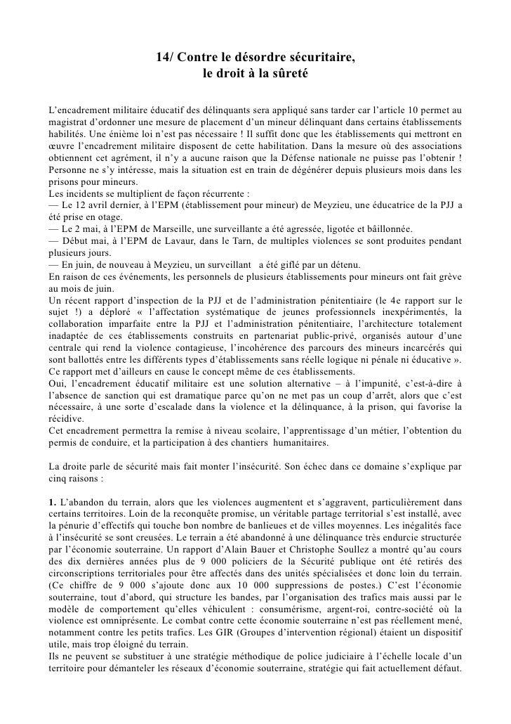 14/ Contre le désordre sécuritaire,                                  le droit à la sûretéL'encadrement militaire éducatif ...