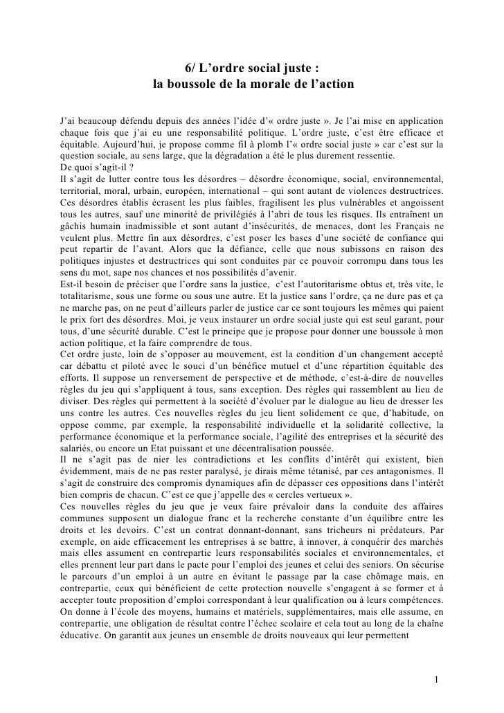 6/ L'ordre social juste :                        la boussole de la morale de l'actionJ'ai beaucoup défendu depuis des anné...