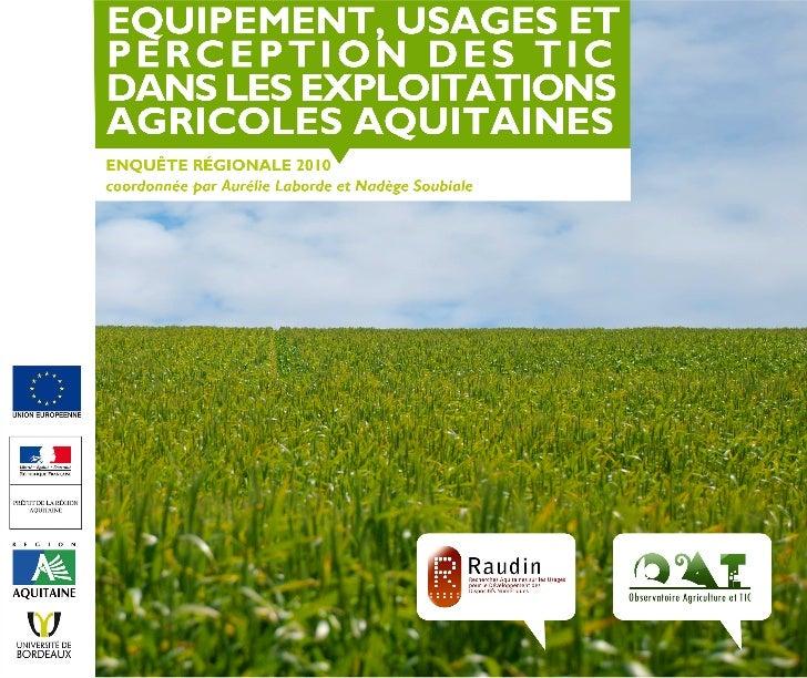 Enquête quantititave Régionale - Agriculture et TIC Slide 1
