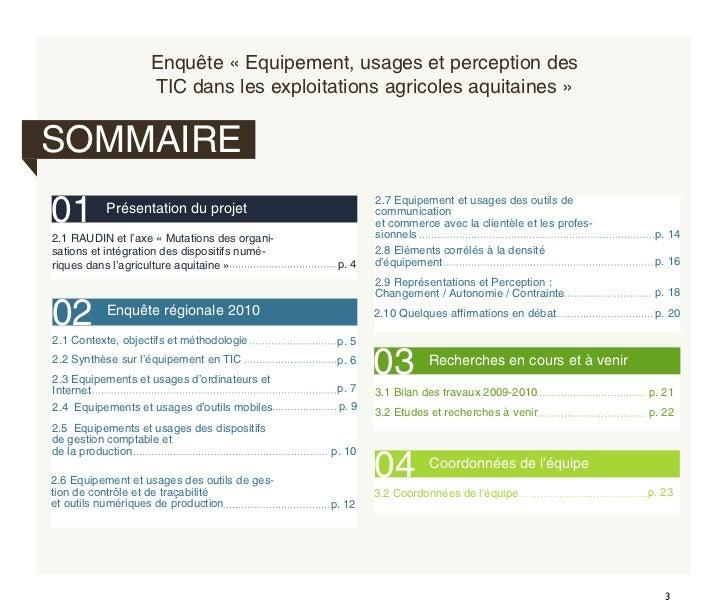 Enquête quantititave Régionale - Agriculture et TIC Slide 3
