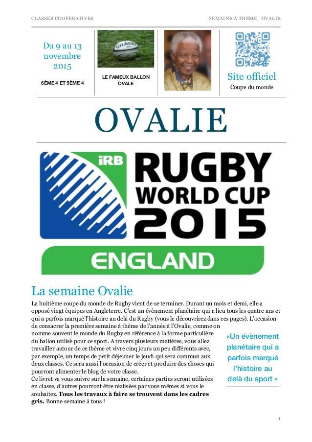CLASSES COOPÉRATIVES SEMAINE À THÈME : OVALIE La semaine Ovalie La huitième coupe du monde de Rugby vient de se terminer. ...