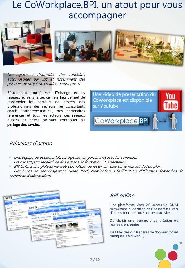 BPI online Une plateforme Web 2.0 accessible 24/24 permettant d'identifier des passerelles vers d'autres fonctions ou sect...