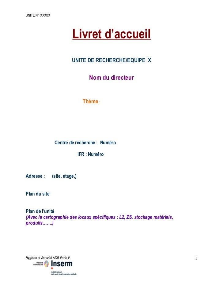 UNITE N° XXXXX                                  Livret d'accueil                                  UNITE DE RECHERCHE/EQUIP...