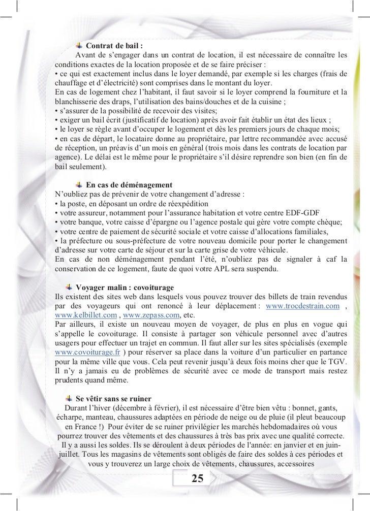 Livret d 39 accueil tudiant en france102012 - Contrat de location chambre chez l habitant ...