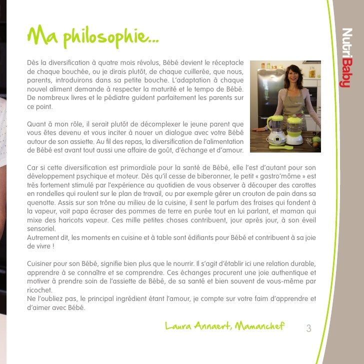 Livret Recettes De Cuisine Pour Bébé Pour Le Nutribaby - Recette de cuisine pour bebe