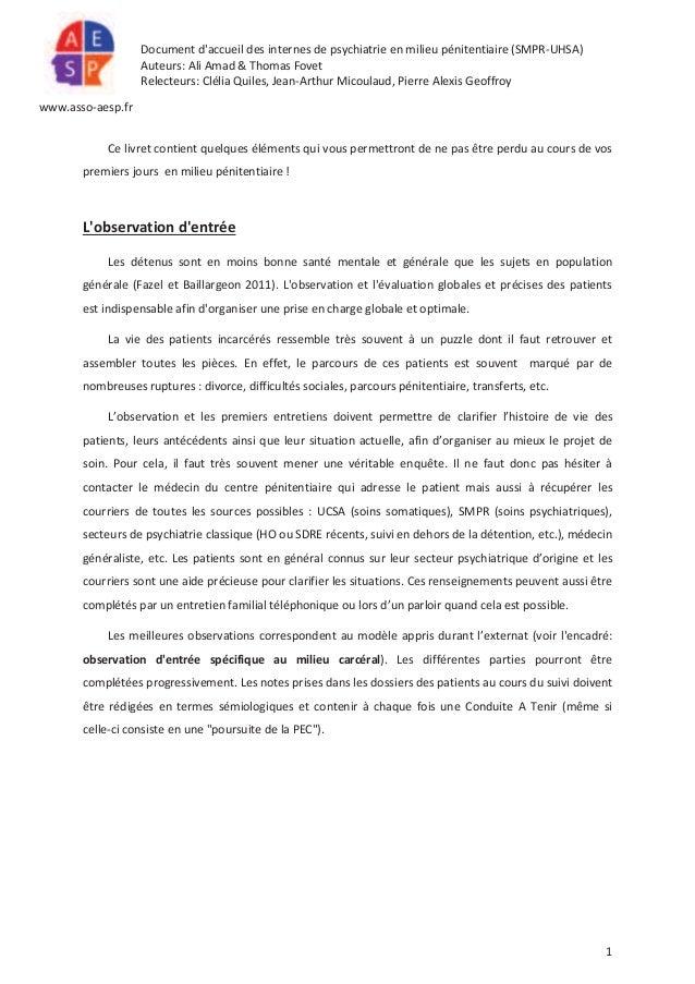 Document d'accueil des internes de psychiatrie en milieu pénitentiaire (SMPR-UHSA) Auteurs: Ali Amad & Thomas Fovet Relect...