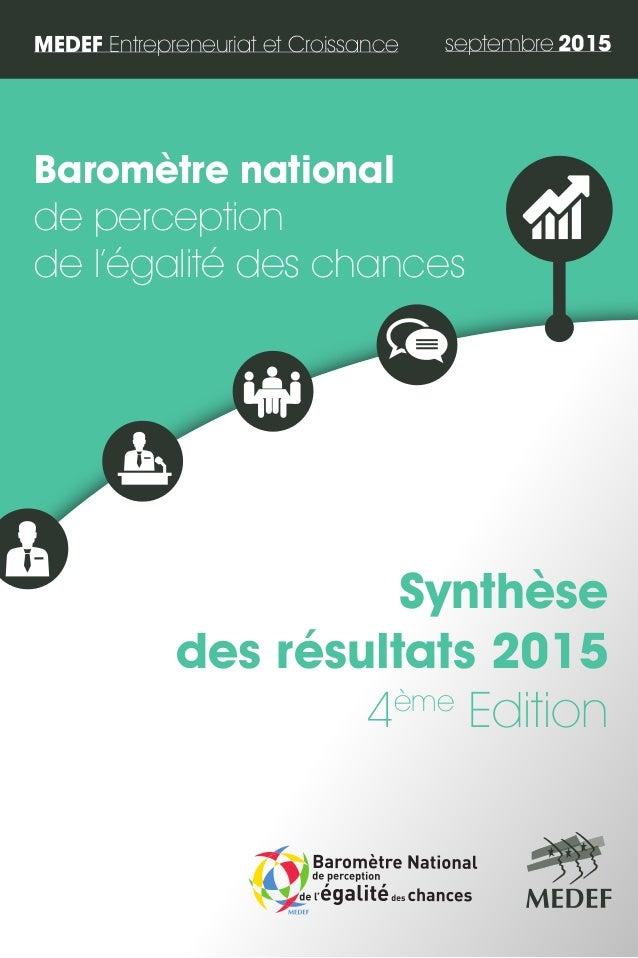 septembre 2015 Baromètre national de perception de l'égalité des chances Synthèse des résultats 2015 4ème Edition MEDEF En...