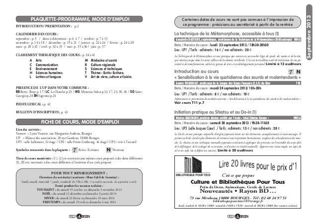 54 PLAQUETTE-PROGRAMME, MODE D'EMPLOI FICHE DE COURS, MODE D'EMPLOI INTRODUCTION / PRESENTATION : p.2 CALENDRIER DES COURS...