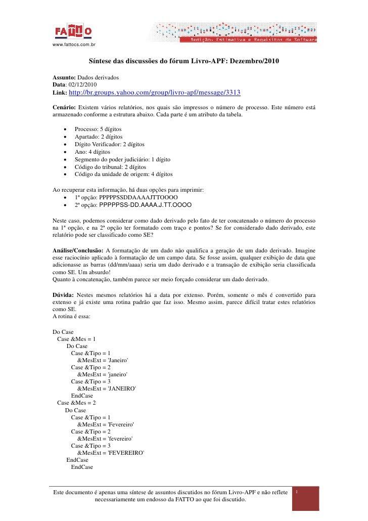 www.fattocs.com.br               Síntese das discussões do fórum Livro APF: Dezembro/2010                                 ...