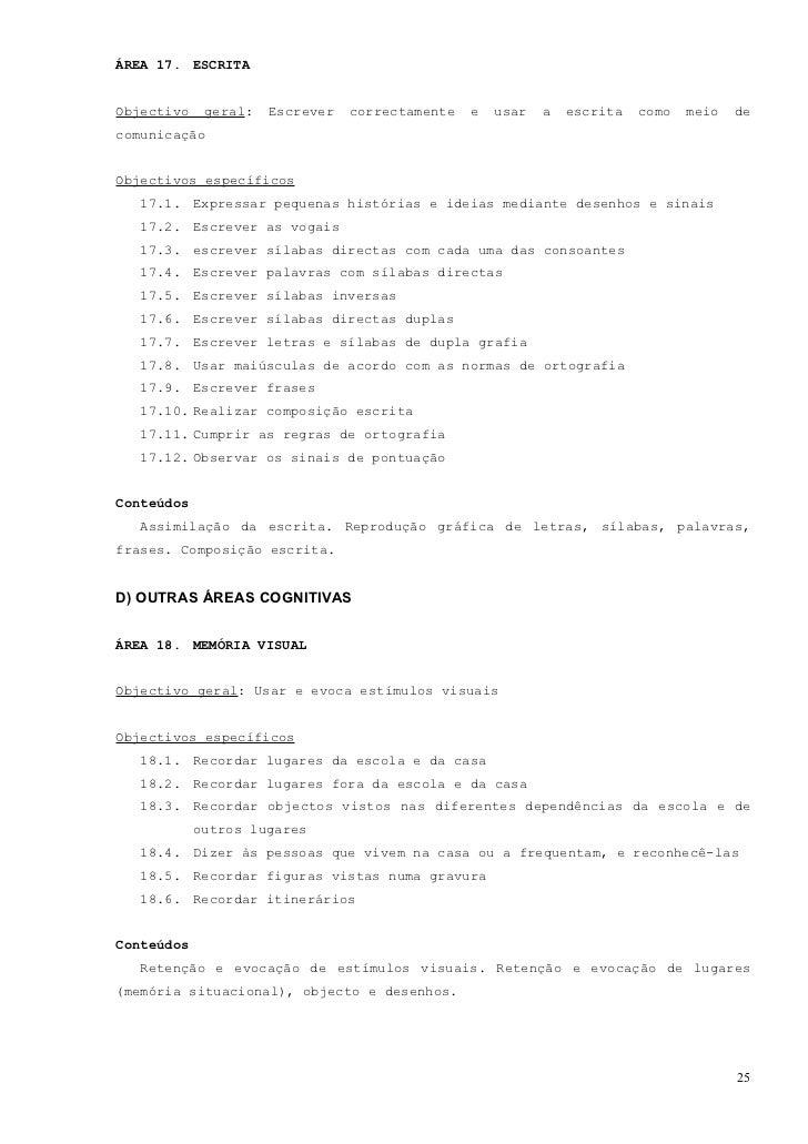 ÁREA 19. MEMÓRIA VERBAL E NUMÉRICA REPETITIVAObjectivo geral: Reter e evocar estímulos verbais e numéricos repetitivosObje...