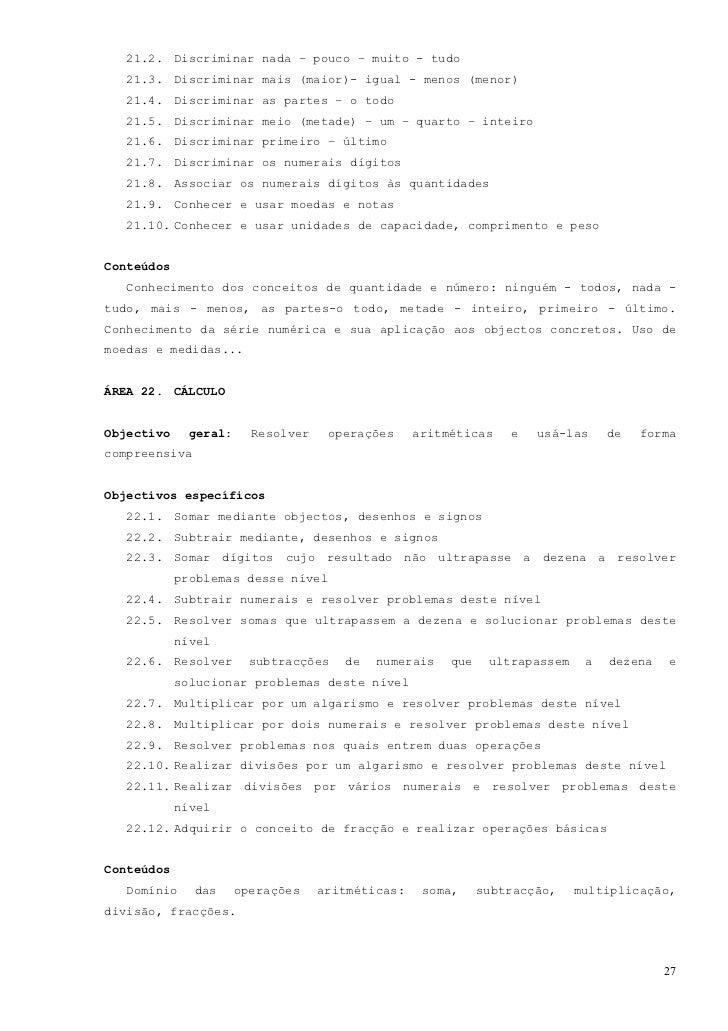 ÁREA 23. RACIOCÍNIO ABSTRACTOObjectivo geral: Captar relações e ideias através de objectos, figuras enumerais.Objectivos e...