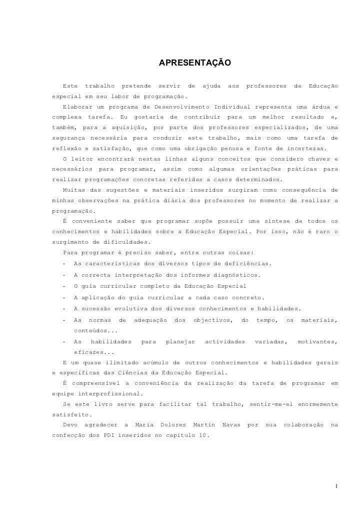CAPÍTULO 1          CARACTERÍSTICAS DA PROGRAMAÇÃO                             EM EDUCAÇÃO ESPECIAL   Há consideráveis dif...