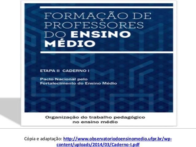 Cópia e adaptação: http://www.observatoriodoensinomedio.ufpr.br/wp- content/uploads/2014/03/Caderno-I.pdf