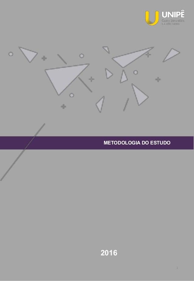 1 METODOLOGIA DO ESTUDO 2016