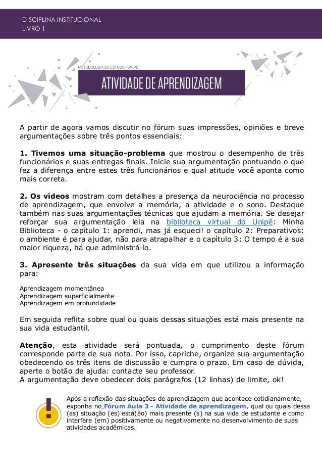 DISCIPLINA INSTITUCIONAL LIVRO 1 PICCINI, Leandro. Aprendendo inteligência: os 7 ensinamentos de Prof. Pier. Disponível em...