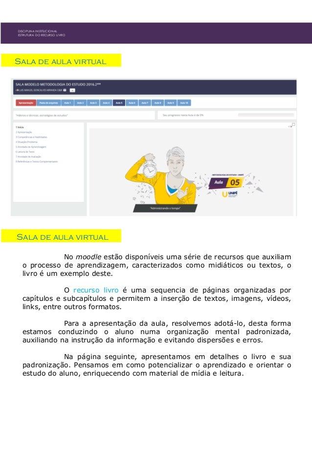 DISCIPLINA INSTITUCIONAL ESTRUTURA DO RECURSO LIVRO Sala de aula virtual Sala de aula virtual No moodle estão disponíveis ...