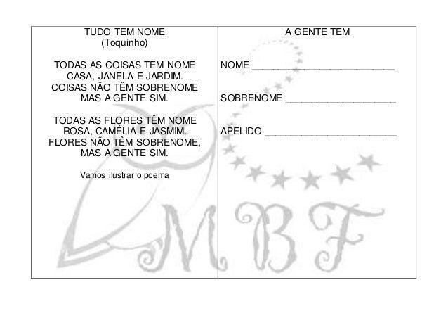 TUDO TEM NOME (Toquinho) TODAS AS COISAS TEM NOME CASA, JANELA E JARDIM. COISAS NÃO TÊM SOBRENOME MAS A GENTE SIM. TODAS A...