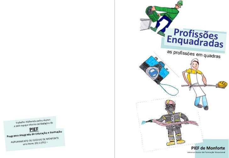 Profissões Enquadradas as profissões em quadras PIEF de Monforte área curricular de Formação Vocacional <ul><li>trabalho e...