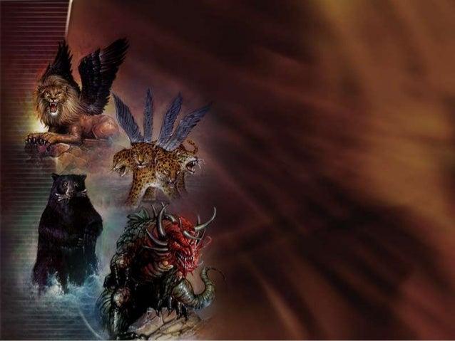 Daniel teve um sonho com quatro animais que representavam os mesmos quatro poderes mundiais simbolizados pela estatua de m...