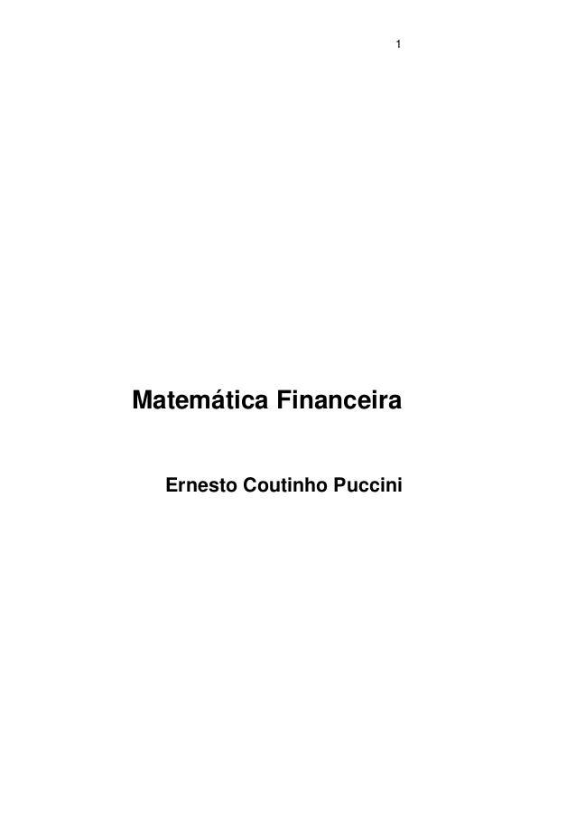 1Matemática FinanceiraErnesto Coutinho Puccini