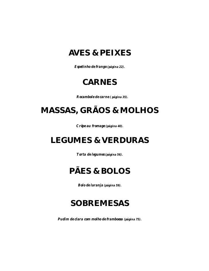 AVES & PEIXES             Espetinho de frango (página 22).                     CARNES               Rocambole de carne ( p...
