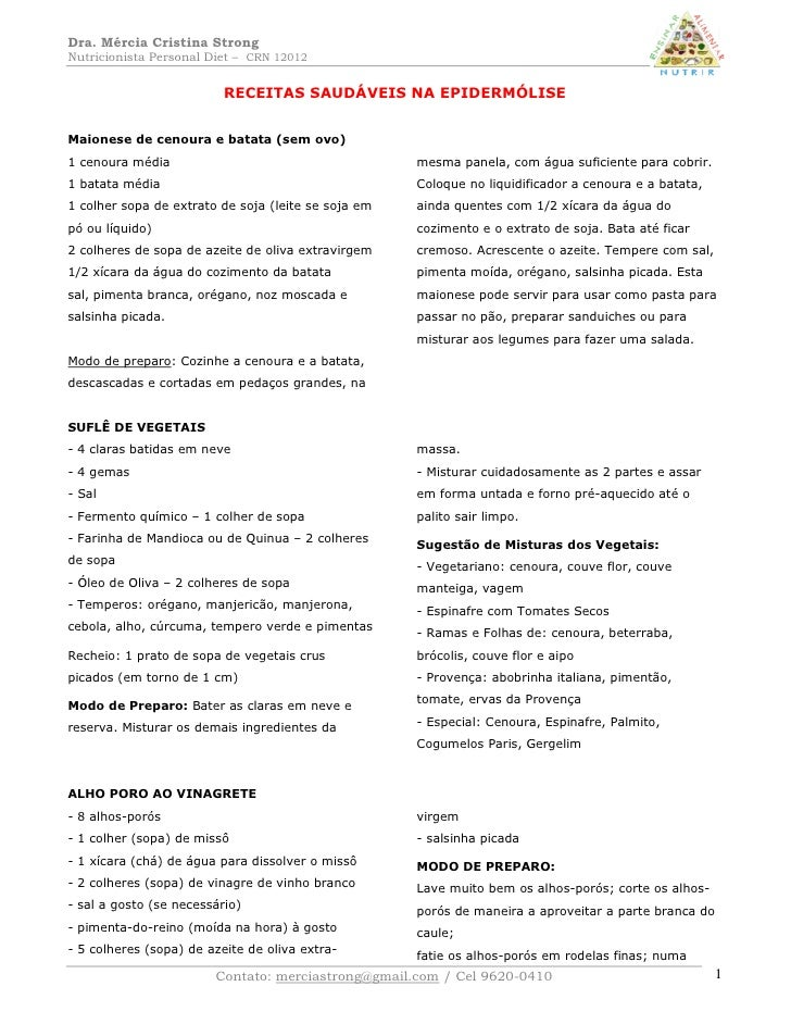 Dra. Mércia Cristina Strong Nutricionista Personal Diet – CRN 12012                             RECEITAS SAUDÁVEIS NA EPID...