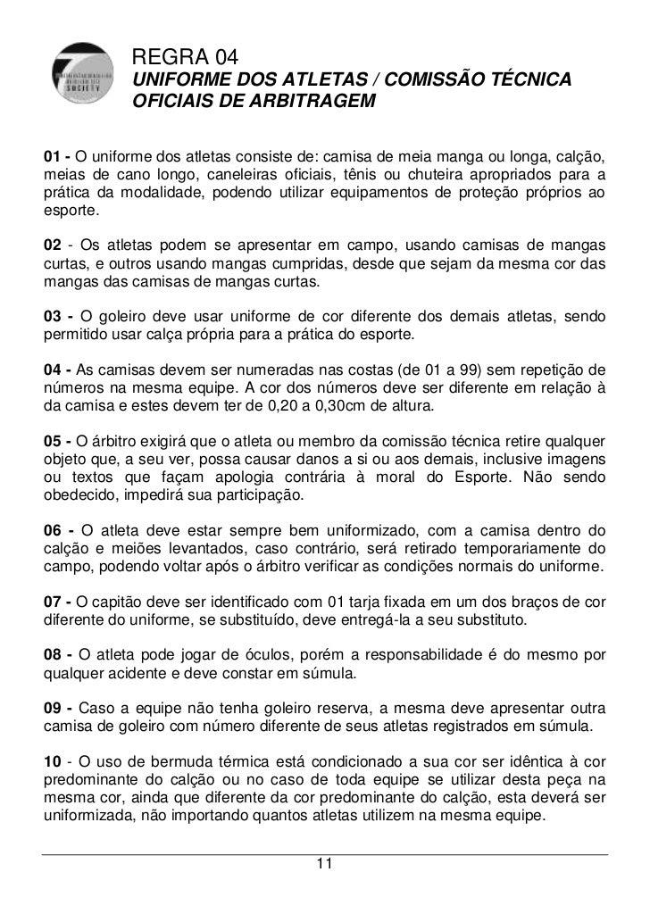1a41dd3b4c Livro de regras oficial futebol society 2011