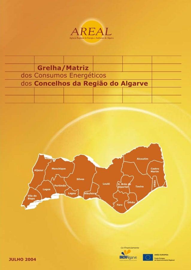 Grelha/Matriz dos Consumos Energéticos dos      Concelhos da Região do Algarve