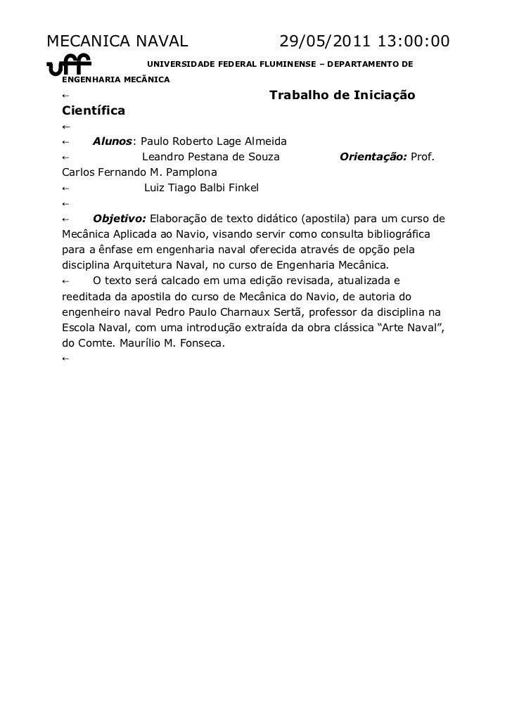 MECANICA NAVAL                            29/05/2011 13:00:00 ←               UNIVERSIDADE FEDERAL FLUMINENSE – DEPARTAMEN...