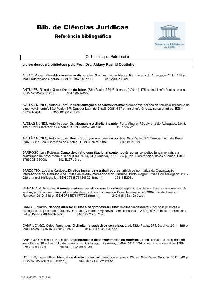 Bib. de Ciências Jurídicas                       Referência bibliográfica                                             (Ord...
